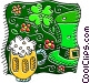 St Patrick's Day hat with four leaf clover and beer Vector Clipart graphic