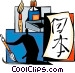 Artist painting Japanese Vector Clip Art graphic