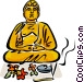 Buddha with flowers and Vector Clip Art image