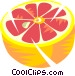 Sliced grapefruit Vector Clipart illustration