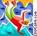 Snorkeler swimming with fish Vector Clipart picture