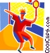 Badminton player Vector Clip Art picture