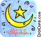 Islamic Half Moon and Star Vector Clipart graphic