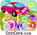 Just married car Vector Clip Art graphic
