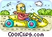 Person driving a go-cart Vector Clip Art graphic