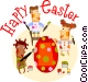 Easter scene Vector Clipart picture