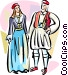 Traditional Greek costumes Vector Clip Art picture