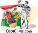 French outdoor market Vector Clipart graphic