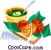 Brazilian deep fried black eye pea cakes Vector Clip Art image