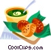 Acaraje, Brazilian deep fried pea cakes Vector Clip Art graphic