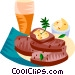 German lard bread with a beer Vector Clip Art picture