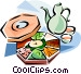 Korean cuisine Kujolpan Vector Clip Art graphic