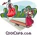 Korean girls playing balance game Vector Clipart graphic