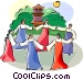 Ch'usok - Korean round dance Vector Clipart image