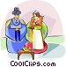 Traditional Korean wedding Vector Clipart picture
