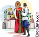 Russian national costumes Vector Clipart illustration