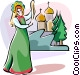 Russian national costumes Vector Clip Art image
