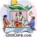 Sukkot dinner in the sukka Vector Clipart illustration