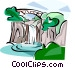 Korea Water fall in Jeju Vector Clipart image