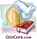 Bible, Dove and Papal Mitre Vector Clip Art picture