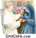 Pope John Paul II with nun Vector Clipart picture