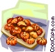 Korean fried honey cake Vector Clipart illustration