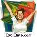 Portuguese football fan Vector Clip Art picture